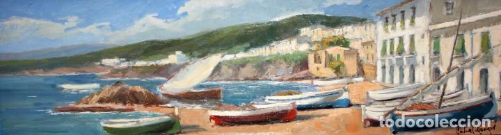 FRANCISCO CARBONELL MASSABÉ (BARCELONA,1928) OLEO CARTON. LES VOLTES DE CALELLA DE PALAFRUGELL (Arte - Pintura - Pintura al Óleo Contemporánea )