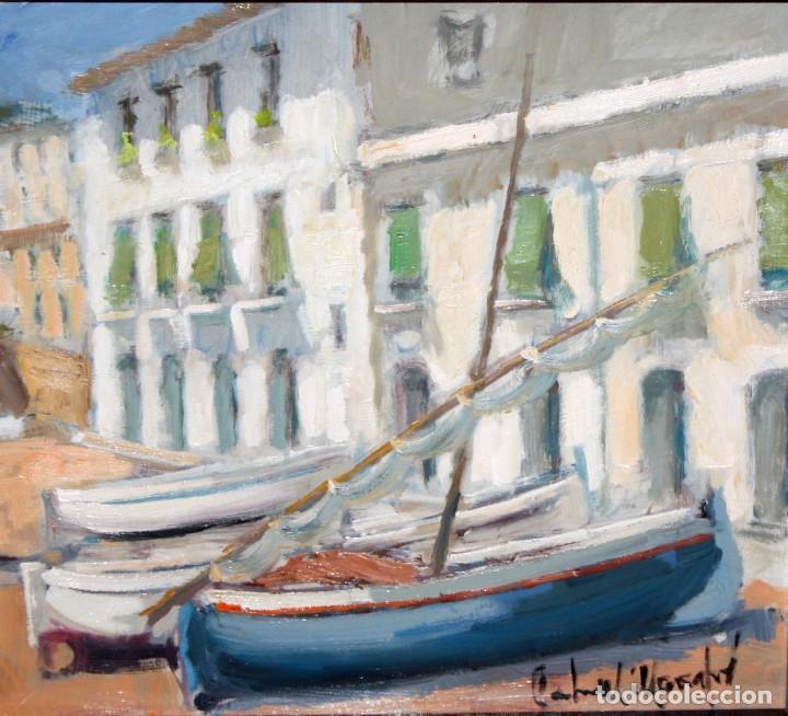 Arte: FRANCISCO CARBONELL MASSABÉ (BARCELONA,1928) OLEO CARTON. LES VOLTES DE CALELLA DE PALAFRUGELL - Foto 6 - 116867315