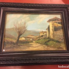 Arte: ÓLEO SOBRE LIENZO - PAISAJE PUEBLO DE MONTAÑA - FIRMA ANTONIO ARAGÓ . LEER MAS. Lote 117013859