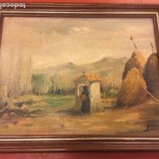 Arte: ÓLEO SOBRE LIENZO - PAISAJE CON MUJER ORANDO EN ERMITA Y PAJAR - FIRMA ANTONIO ARAGÓ . LEER MAS. Lote 117014391