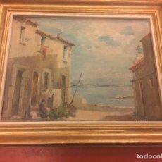 Arte: ÓLEO SOBRE LIENZO - PUEBLO COSTERO - FIRMA ANTONIO ARAGÓ . LEER MAS. Lote 161753917
