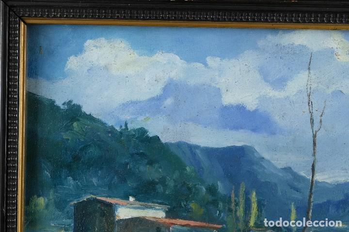 Arte: J.Serrat Calvo Óleo sobre lienzo Paisaje campo con vacas siglo XX firmado - Foto 3 - 117223955