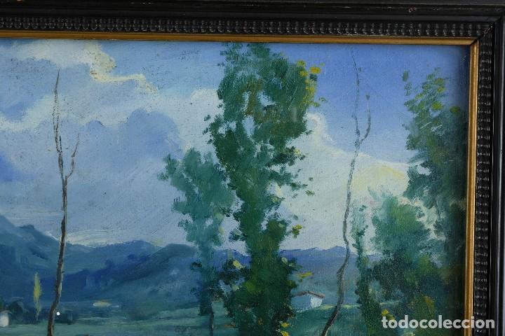 Arte: J.Serrat Calvo Óleo sobre lienzo Paisaje campo con vacas siglo XX firmado - Foto 4 - 117223955