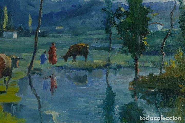 Arte: J.Serrat Calvo Óleo sobre lienzo Paisaje campo con vacas siglo XX firmado - Foto 5 - 117223955
