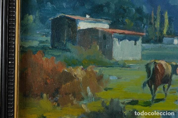 Arte: J.Serrat Calvo Óleo sobre lienzo Paisaje campo con vacas siglo XX firmado - Foto 7 - 117223955