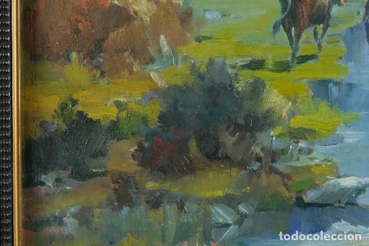 Arte: J.Serrat Calvo Óleo sobre lienzo Paisaje campo con vacas siglo XX firmado - Foto 8 - 117223955