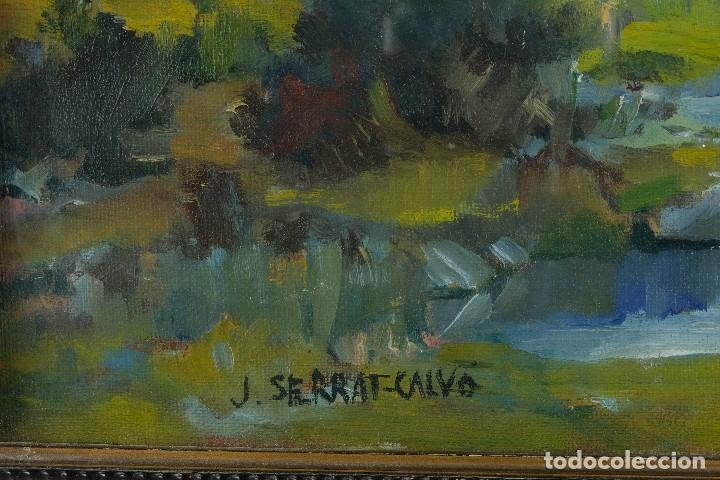 Arte: J.Serrat Calvo Óleo sobre lienzo Paisaje campo con vacas siglo XX firmado - Foto 9 - 117223955