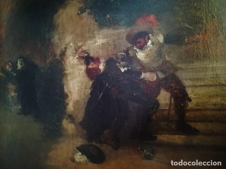 Arte: ESCUELA ESPAÑOLA,PINTURA,OLEO SOBRE TABLA SIGLO XIX, DUELO A ESPADA EN EL CONVENTO,ESGRIMA-SABLE - Foto 2 - 116551955