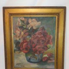 Arte: CUADRO ÓLEO BODEGÓN ENMARCADO FLORES FLOR AÑO 1951. Lote 117348708