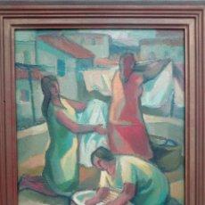 Arte: OLEO LAVANDERAS ALFONSO GUERRA CALLE. Lote 76983989