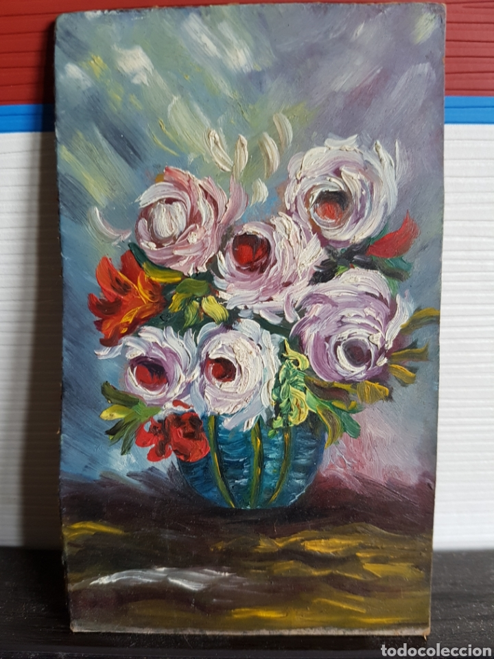 OLEO SOBRE TABLA, MOTIVOS FLORALES, 12X7CM (Arte - Pintura - Pintura al Óleo Contemporánea )