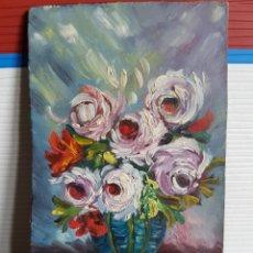 Arte: OLEO SOBRE TABLA, MOTIVOS FLORALES, 12X7CM. Lote 117723591