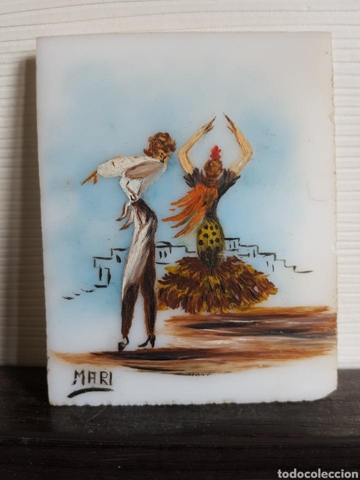 PEQUEÑO OLEO SOBRE PLÁSTICO, BAILANDO FLAMENCO, 8,5X7CM (Arte - Pintura - Pintura al Óleo Contemporánea )