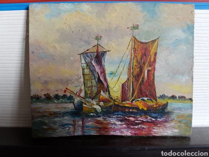 .OLEO SOBRE CARTÓN, ESCENA MARITIMA, BARCOS, 12X10CM (Arte - Pintura - Pintura al Óleo Contemporánea )