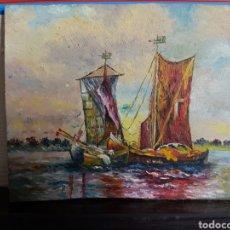 Arte: .OLEO SOBRE CARTÓN, ESCENA MARITIMA, BARCOS, 12X10CM. Lote 117723852