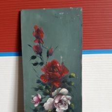 Arte: OLEO SOBRE TABLA, MOTIVOS FLORALES, 15X7CM.. Lote 117724395