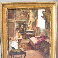Arte: MATEO BALASCH (1870-1936), INTERIOR CON FIGURA, ÓLEO SOBRE LIENZO. 62,5X83,5CM. Lote 118865084