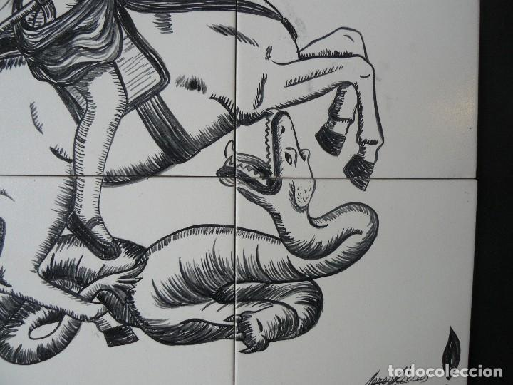 Arte: MURAL - ESMALTE SOBRE CERÁMICA - FIRMADO TERESA MAS - SANT JORDI - Foto 5 - 117846875