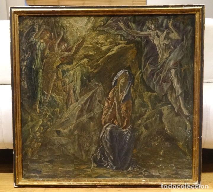 GRAN OBRA DE ARTE DEL SIGLO XVI, CIRCULO DEL GRECO, MADONNA EN LA GRUTA CON ANGELES, PINTURA AL OLEO (Arte - Pintura - Pintura al Óleo Antigua siglo XVI)