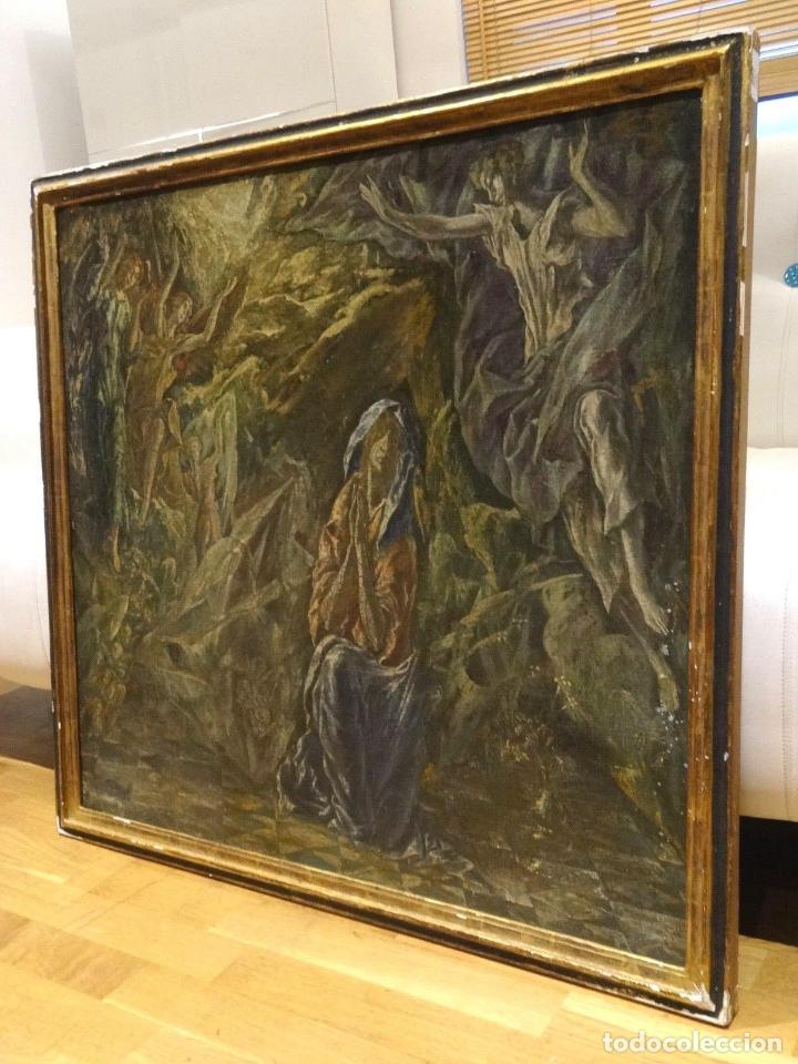 Arte: GRAN OBRA DE ARTE DEL SIGLO XVI, CIRCULO DEL GRECO, MADONNA EN LA GRUTA CON ANGELES, PINTURA AL OLEO - Foto 2 - 117849739