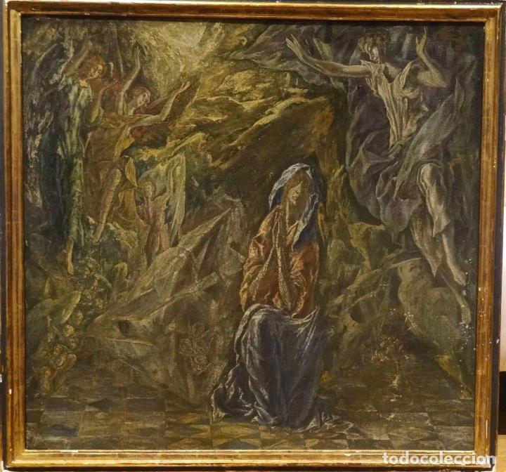 Arte: GRAN OBRA DE ARTE DEL SIGLO XVI, CIRCULO DEL GRECO, MADONNA EN LA GRUTA CON ANGELES, PINTURA AL OLEO - Foto 3 - 117849739