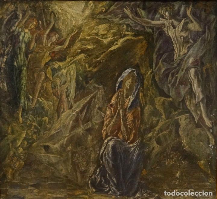 Arte: GRAN OBRA DE ARTE DEL SIGLO XVI, CIRCULO DEL GRECO, MADONNA EN LA GRUTA CON ANGELES, PINTURA AL OLEO - Foto 4 - 117849739