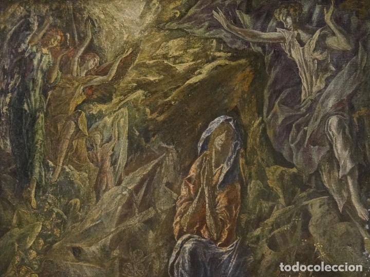 Arte: GRAN OBRA DE ARTE DEL SIGLO XVI, CIRCULO DEL GRECO, MADONNA EN LA GRUTA CON ANGELES, PINTURA AL OLEO - Foto 5 - 117849739
