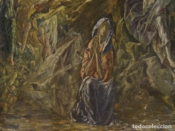 Arte: GRAN OBRA DE ARTE DEL SIGLO XVI, CIRCULO DEL GRECO, MADONNA EN LA GRUTA CON ANGELES, PINTURA AL OLEO - Foto 6 - 117849739