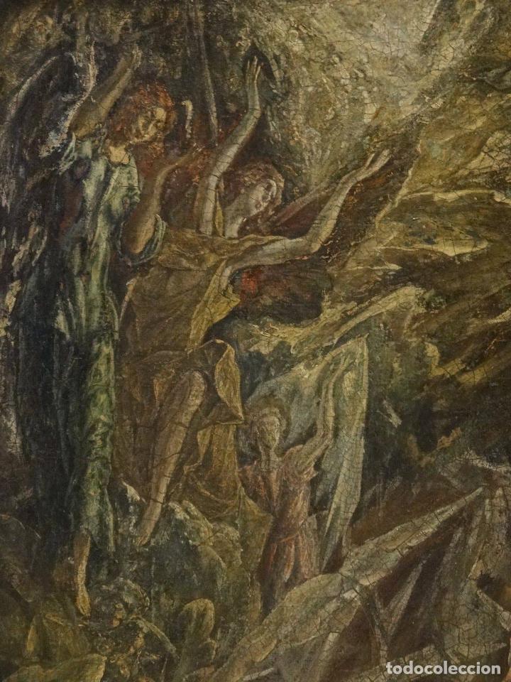 Arte: GRAN OBRA DE ARTE DEL SIGLO XVI, CIRCULO DEL GRECO, MADONNA EN LA GRUTA CON ANGELES, PINTURA AL OLEO - Foto 7 - 117849739