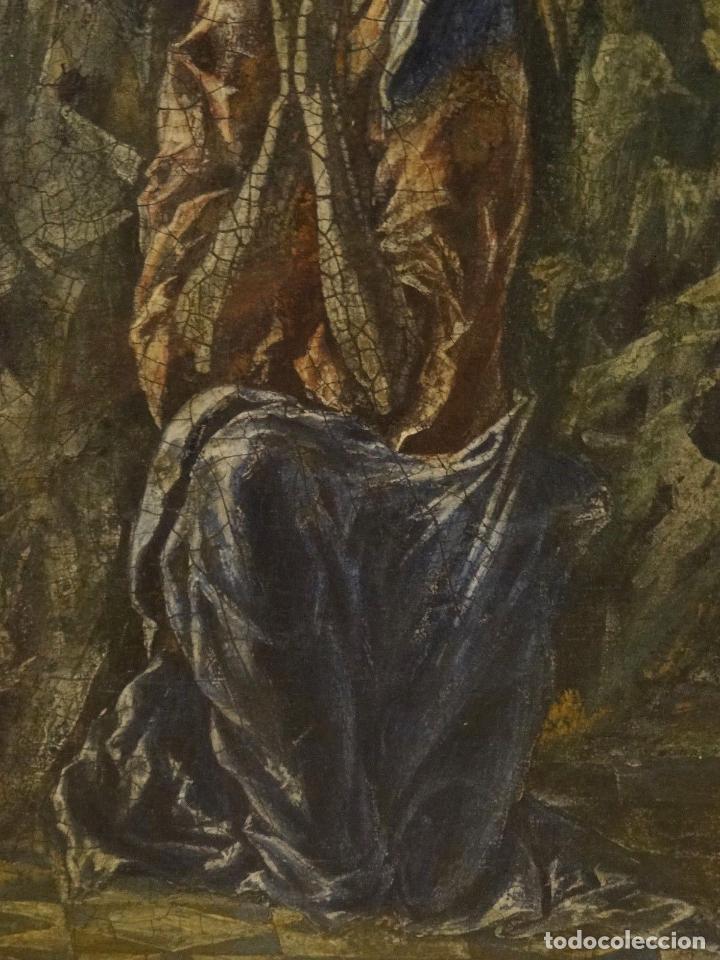 Arte: GRAN OBRA DE ARTE DEL SIGLO XVI, CIRCULO DEL GRECO, MADONNA EN LA GRUTA CON ANGELES, PINTURA AL OLEO - Foto 10 - 117849739
