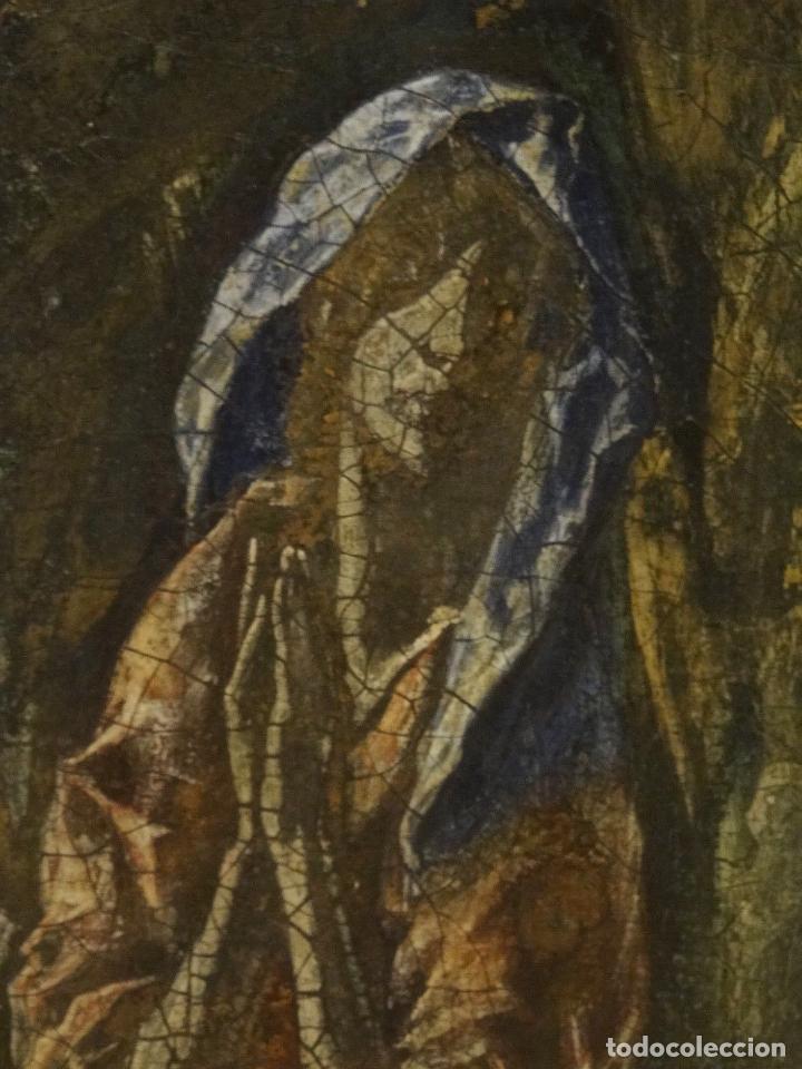 Arte: GRAN OBRA DE ARTE DEL SIGLO XVI, CIRCULO DEL GRECO, MADONNA EN LA GRUTA CON ANGELES, PINTURA AL OLEO - Foto 11 - 117849739