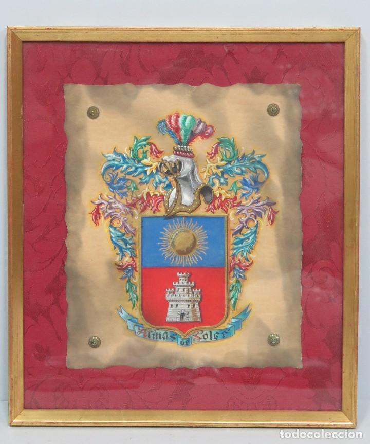 ESCUDO DE ARMAS FAMILIA SOLER. HERALDICA. PINTADO A MANO. AÑOS 40 (Arte - Pintura - Pintura al Óleo Contemporánea )