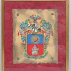 Art: ESCUDO DE ARMAS FAMILIA SOLER. HERALDICA. PINTADO A MANO. AÑOS 40. Lote 117862839
