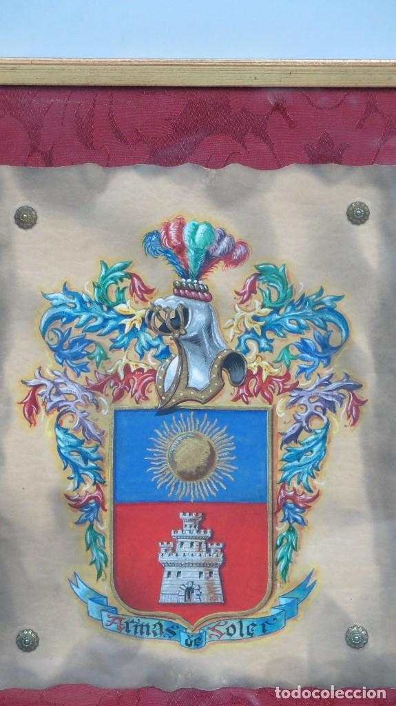 Arte: ESCUDO DE ARMAS FAMILIA SOLER. HERALDICA. PINTADO A MANO. AÑOS 40 - Foto 2 - 117862839