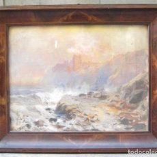 Arte: ANDRÉS LARRAGA (1861-1931), PAISAJE COSTERO, ÓLEO SOBRE CARTÓN. 75X60,5CM MARCO. Lote 117889527