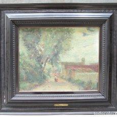 Arte: JORDI FREIXAS CORTÉS (1917-1984), CAMINO DEL OLIVO, LLORET DE MAR, ÓLEO SOBRE CARTÓN. 64X56CM MARCO. Lote 117891015