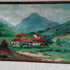 Arte: CASERIO, OLEO DE MERCEDES SANCHEZ OLEO SOBRE LIENZO ,ENMARCADO Y FIRMADO. Lote 117919114