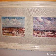 Arte: PAISAJE PASTOR CON GANADO Y PAISAJE CARRO, RAFAEL FUSTER. Lote 117948687