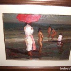 Arte: ESCENA PLAYA MUJER SOMBRILLA ROJA Y BAÑO NIÑAS DESNUDAS, RAFAEL FUSTER. Lote 117949695