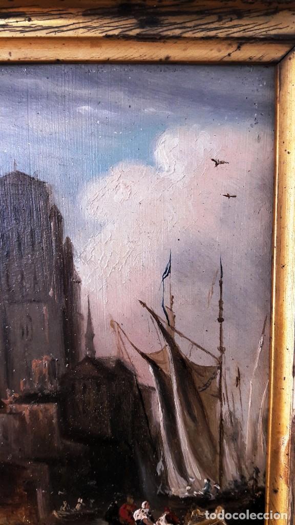 Arte: Pequeño óleo sobre zinz con escena fluvial siglo XIX firmado por M. Esquivel - Foto 2 - 118037499