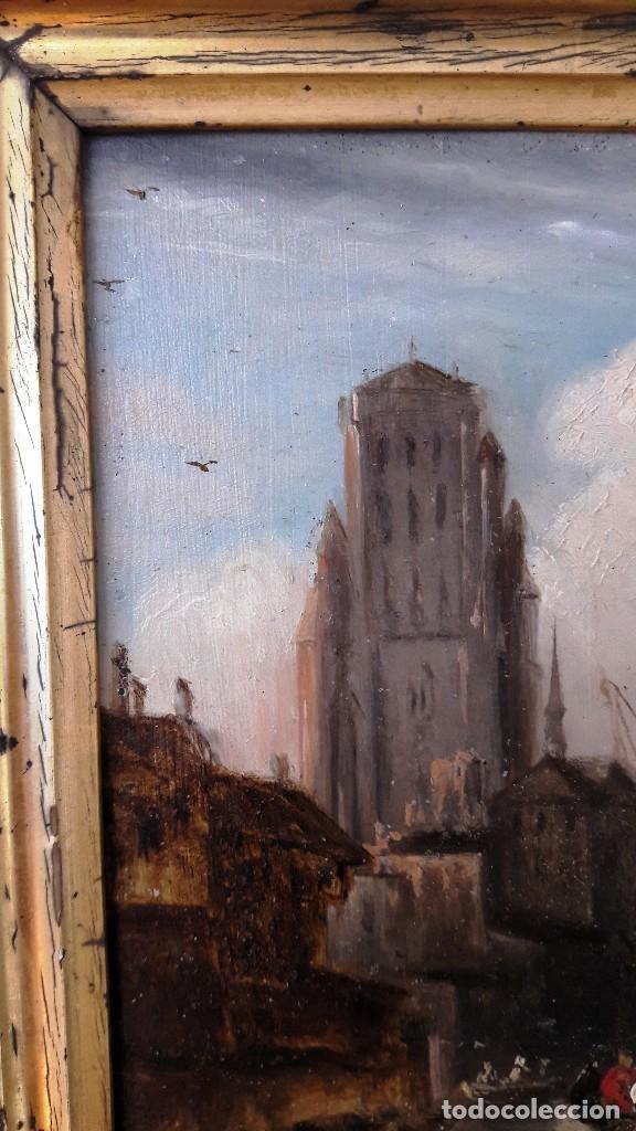 Arte: Pequeño óleo sobre zinz con escena fluvial siglo XIX firmado por M. Esquivel - Foto 3 - 118037499