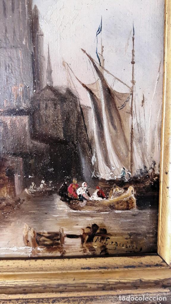 Arte: Pequeño óleo sobre zinz con escena fluvial siglo XIX firmado por M. Esquivel - Foto 4 - 118037499