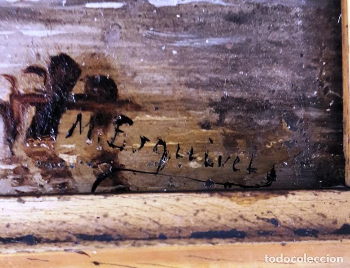Arte: Pequeño óleo sobre zinz con escena fluvial siglo XIX firmado por M. Esquivel - Foto 5 - 118037499