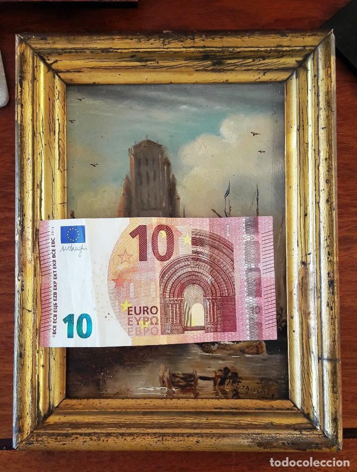 Arte: Pequeño óleo sobre zinz con escena fluvial siglo XIX firmado por M. Esquivel - Foto 9 - 118037499