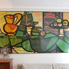 Arte: ENORME ÓLEO SOBRE TABLA - PICASSO - JARRA Y FRUTERO - BODEGÓN - COPIA DE BORDETAS - AÑO 1969. Lote 118104331