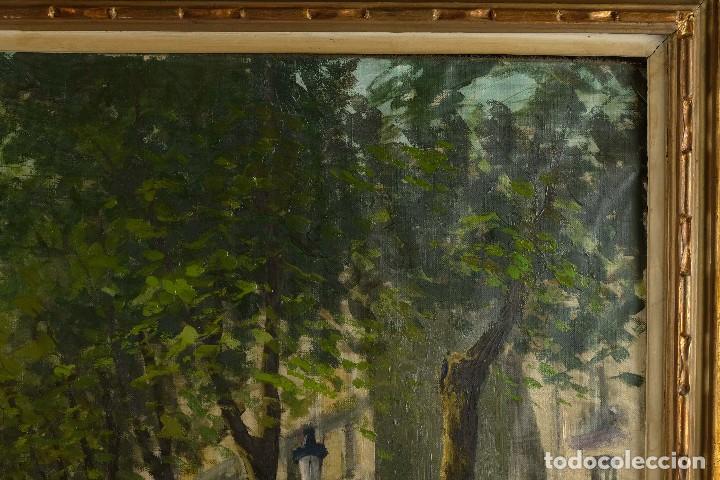 Arte: Óleo sobre lienzo Paseo Barcelona mediados firmado Juan Castelló siglo XX - Foto 4 - 118182831