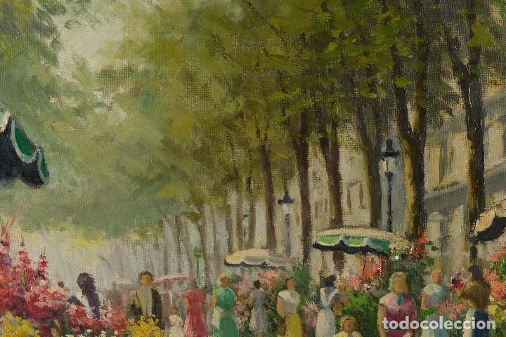 Arte: Óleo sobre lienzo Paseo Barcelona mediados firmado Juan Castelló siglo XX - Foto 6 - 118182831