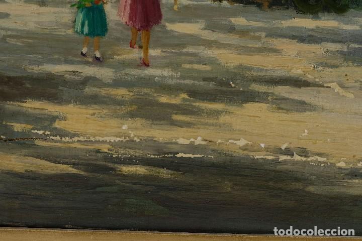 Arte: Óleo sobre lienzo Paseo Barcelona mediados firmado Juan Castelló siglo XX - Foto 11 - 118182831