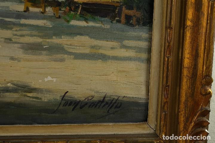 Arte: Óleo sobre lienzo Paseo Barcelona mediados firmado Juan Castelló siglo XX - Foto 12 - 118182831