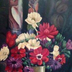 Arte: HERMOSO JARRON DE FLORES,60/50 OLEO SOBRE LIENZO. Lote 118206242